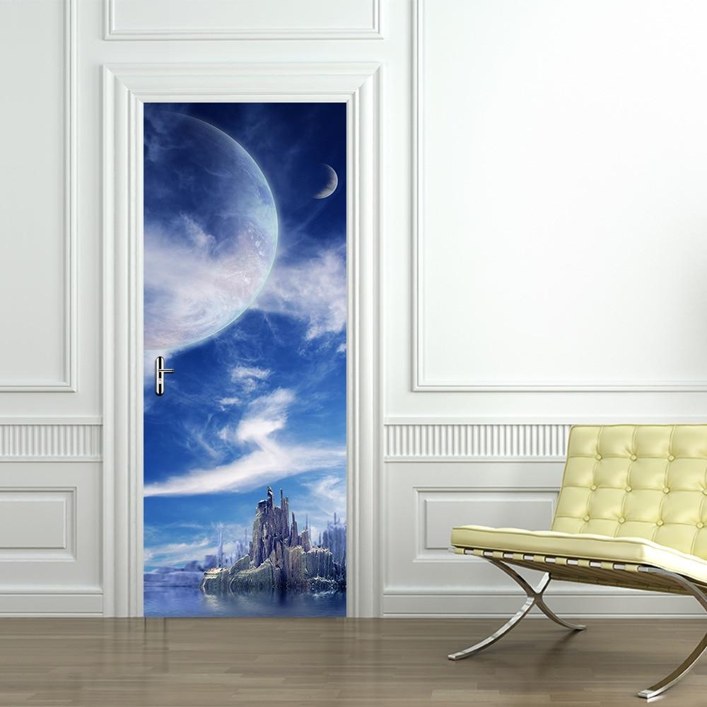 303x787 Blue Sky Moon Self Adhesive Diy Wall Mural Door Wallpaper