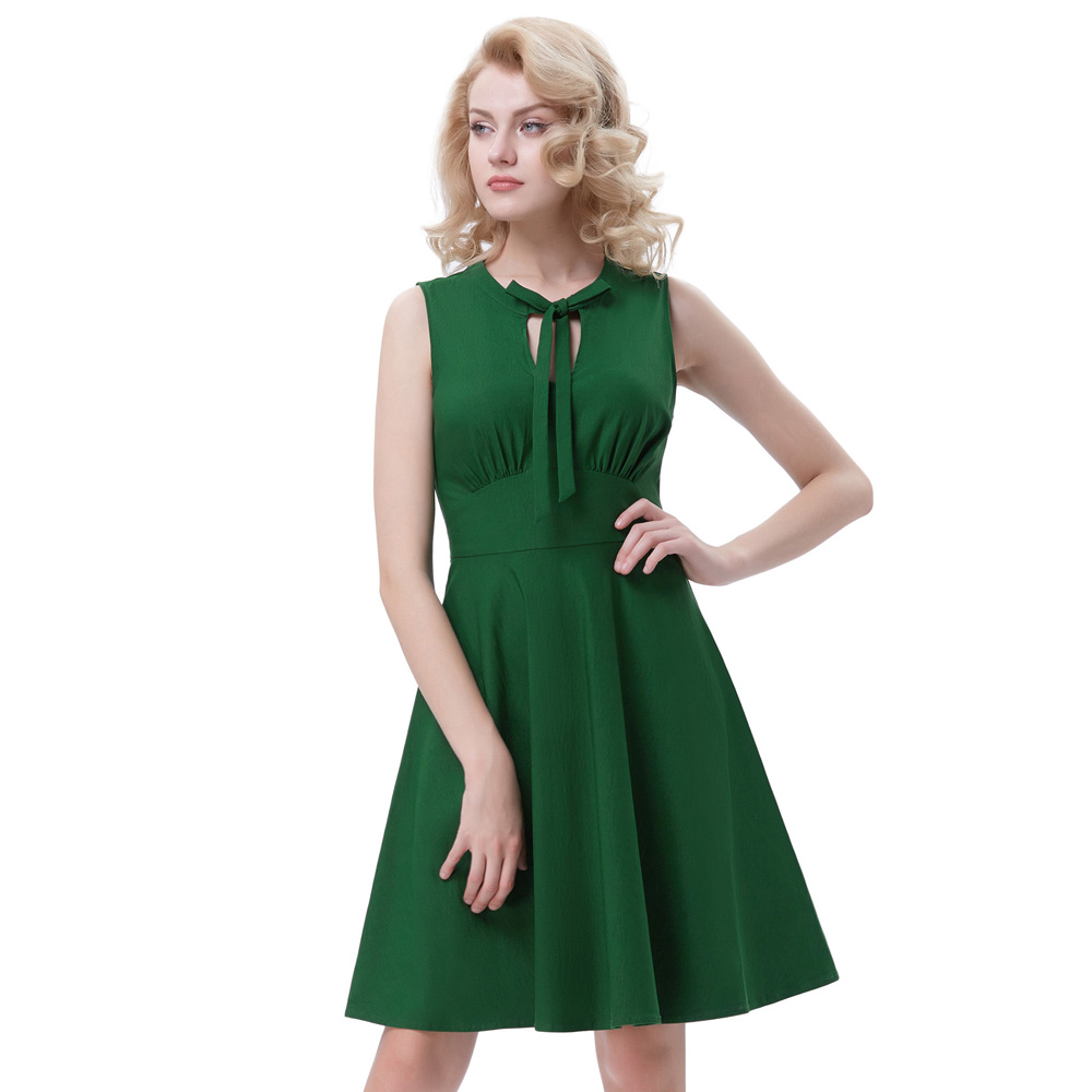 cededb07fd7d Belle Poque New 2017 Women Summer Sleeveless Dresses 50s Vintage O-Neck  Pleated Swing Solid