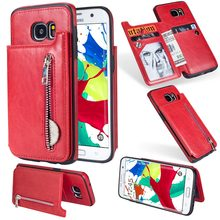 Crazy Horse Zipper Flip Card Slot Wallet Cover Case For SAMSUNG Galaxy S8 S9 S10 Plus J3 J5 J7 A6 A7 Note 8 9 Leather Coin Purse(China)