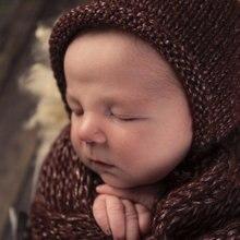 新生児の写真の小道具、ベビーストレッチラップ毛布、バスケットクッションブランケット赤ちゃんの写真の小道具