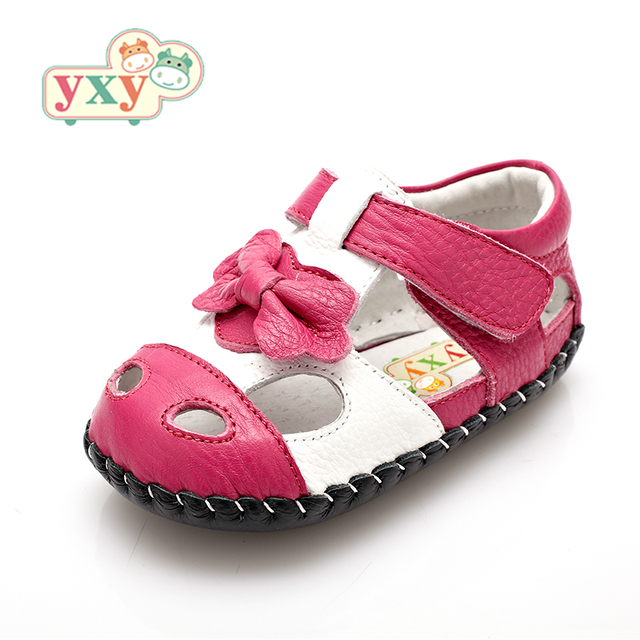 YXY Brand 2019 summer genuine leather Hollow BOW baby first walkers girls boys toddler hand-made Newborn sport shoes 2