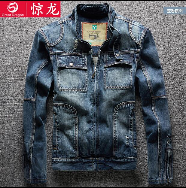 2016 new hot spring autumn Men Jeans Jacket Overcoat Parkas coat Motorcycle Retro short plus size 3XXXL cotton Nostalgic