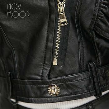 Ruffle design black genuine leather jackets sheepskin lamb motorcycle biker jacket coats jaqueta de couro chaqueta mujer LT1875