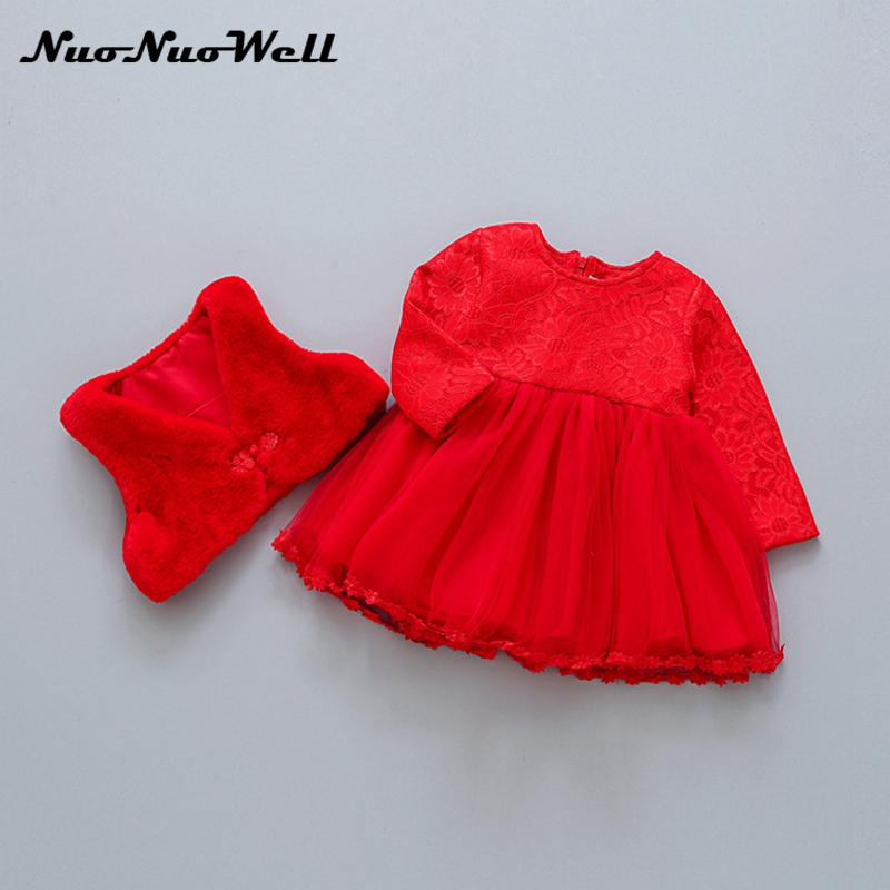 2pcs dress+ vest Red Thick Winter Dress Baby Girl Chinese Style Toddler Clothes Kids Dresses Girls Princess Party Dresses 0-36M 5790 palace style red lace toddler princess party girls dress layers tutu kids dresses for girls wholesale baby girl clothes lot