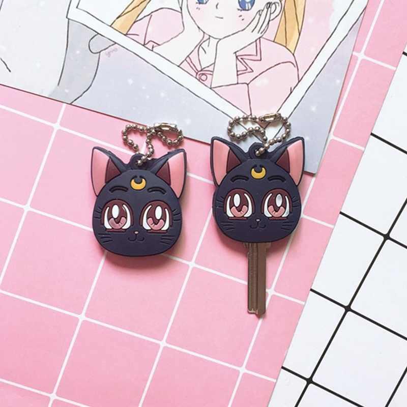 Kawaii Anime japonés Kinomoto Sailor Moon Key Cover Kawaii dibujos animados llaveros funda de silicona llaveros Cosplay llavero goma Pug
