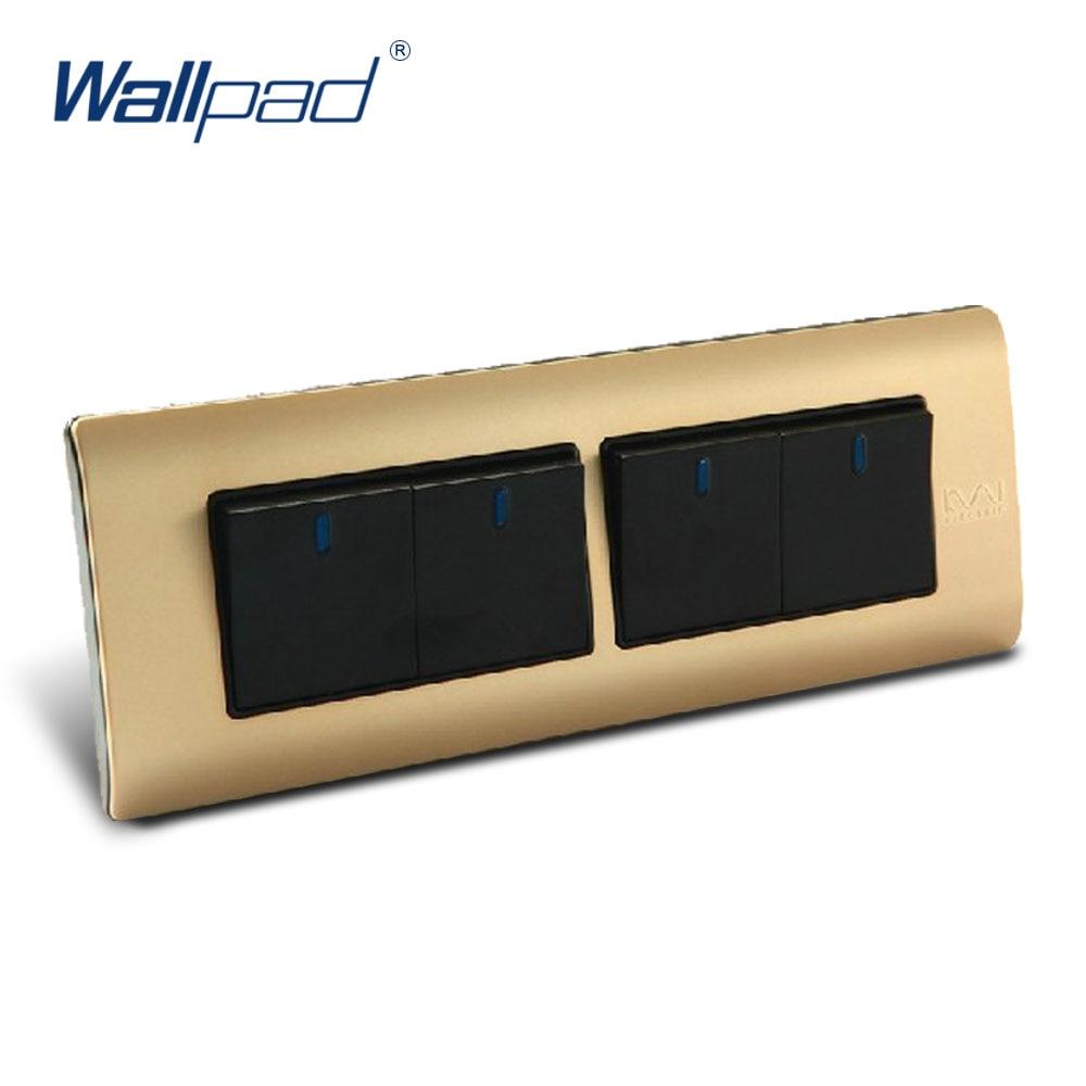 Free Shipping, Wallpad Luxury Wall Switch Panel, 4 Gang 2 Way Switch, Plug, Socket, 197*72mm, 10A, 110~250V  free shipping wallpad luxury wall switch panel 6 gang 2 way switch plug socket 197 72mm 10a 110 250v