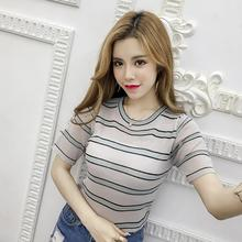 Womens tshirt Casual O Neck Striped women Short Sleeve Thin Perspective Knitted Pullover T-Shirt