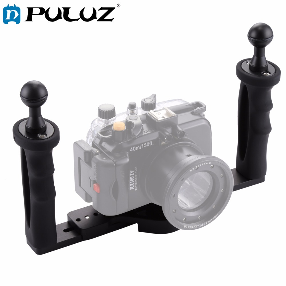Фотография PULUZ Dual Handle Aluminium Tray Stabilizer for Underwater Camera Housings Case Diving Tray Mount for GoPro DSLR Action Camera