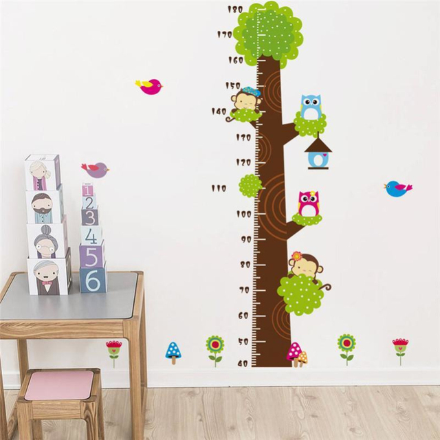 Cartoon Erfly Flower Tree Growth Chart Wall Sticker Home Decor Diy Ruler Animal Stickers For Children Bedroomwall Decals