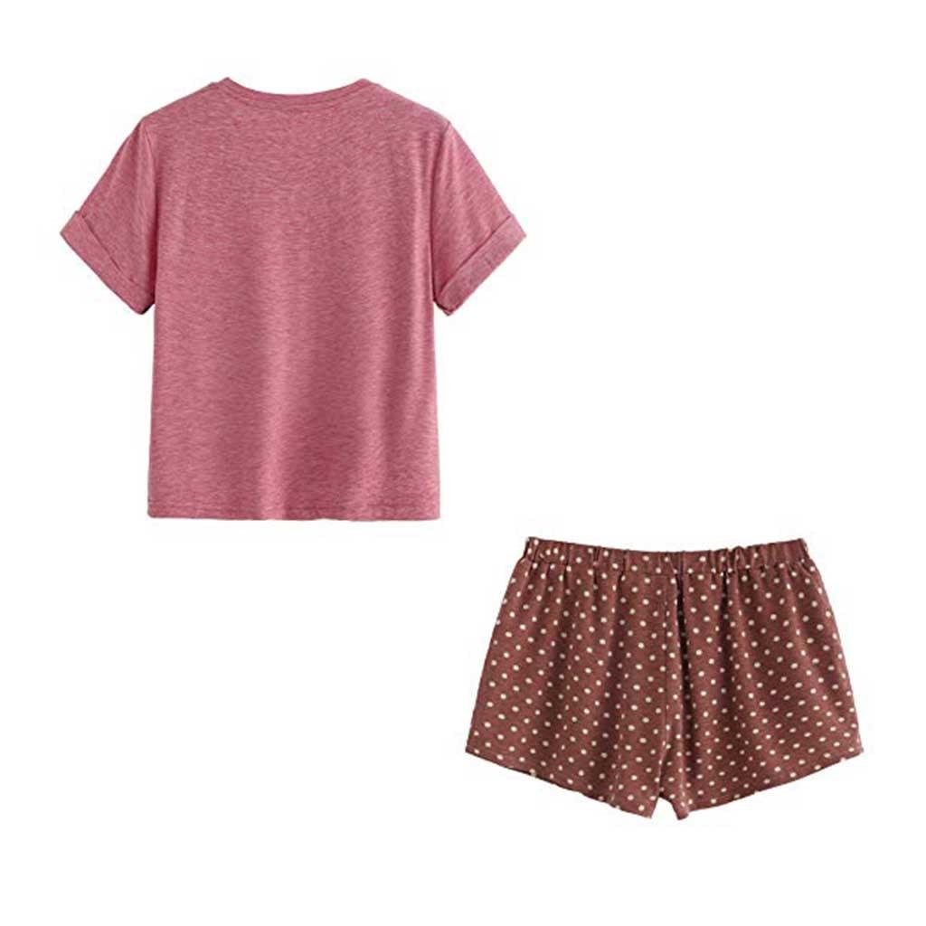 Details about  /Cartoon Short Sleeve Tee Shirt And Shorts Women Pajamas Sets Summer Sleepwear