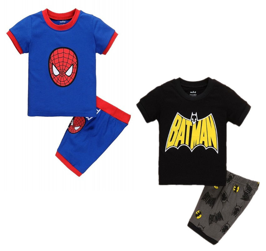 2016 Baby Kids Boys Summer Cartoon Spider/Batman Pattern Printed Top Short sleeveT-shirt+Shorts Outfits Clothes 1-7Y