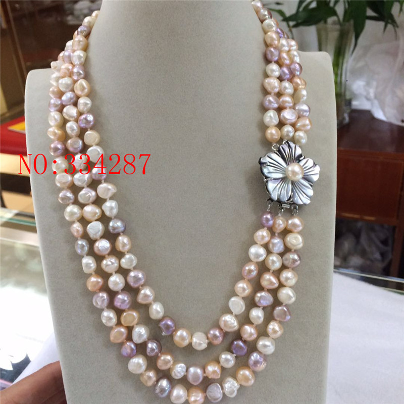 Natural freshwater pearl necklace 3Strds Multi Color Baroque Pearl Necklace Cameo Clasp