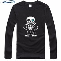 Alimoo Funny Skeleton Cartoon Black Men T Shirt 2016 Summer Mens Long Sleeve Tshirt In Soft
