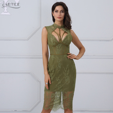 Adyce 2018 Fashion Spring Women Bandage Dresses Party Dresses Sexy Sleeveless Hollow Out Knee Length Tank Lace Dress Vestidos