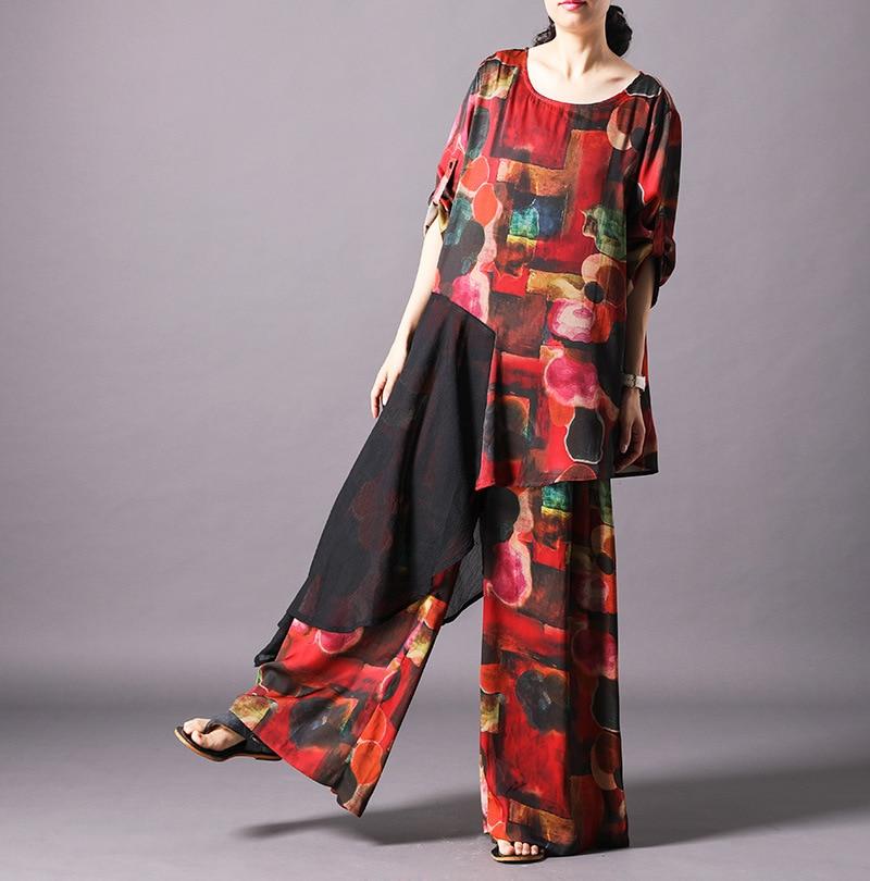 Leg-Pants Irregular-Shirt Silk Women's Clothing Two-Piece Fashion Summer Print Stitching-Printing