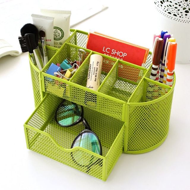 New Metal Desktop Storage Box Organiser Drawer Pen Card Office Stationery Holder Home House Bathroom Desk