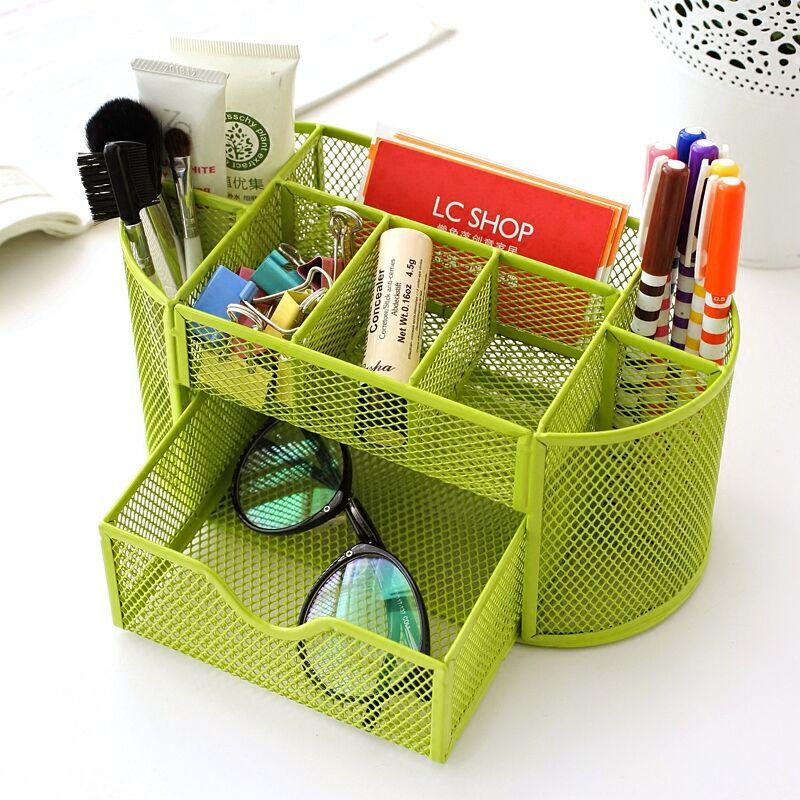 New Metal Desktop Storage Box Organiser Drawer Pen Card Office Stationery Holder Home House bathroom Desk Zakka Organizer 63791