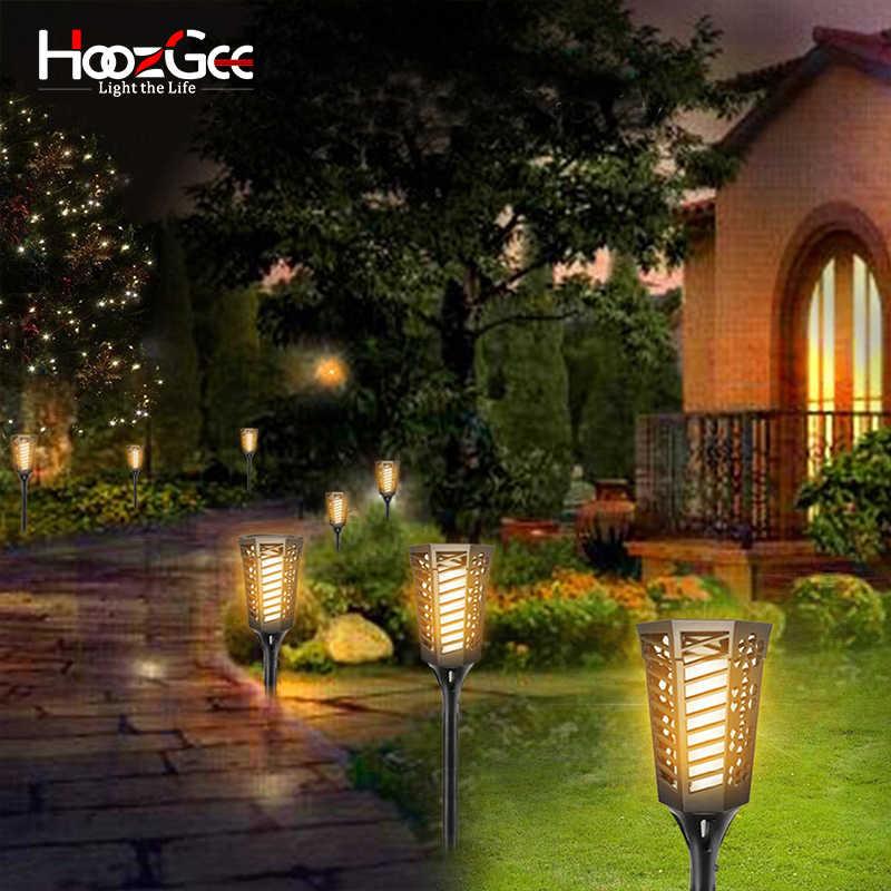 HoozGee солнечные огни пламени газон открытый сад 96 Светодиодный светильник Ландшафтный прожектор освещение Сумерки до рассвета Авто Лампа безопасности