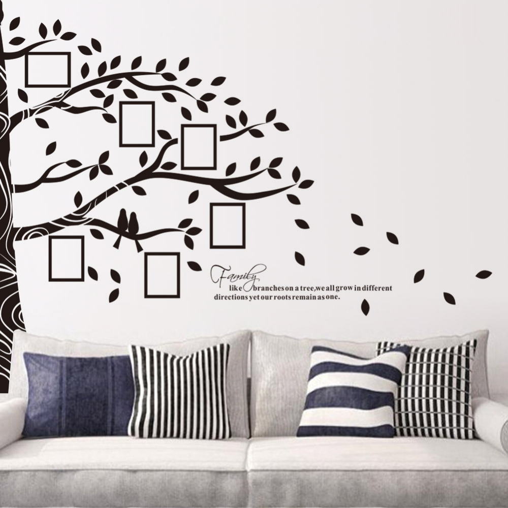 compare prices on family happiness quotes online shopping buy low black tree family picture photo frame memory tree quote art wall stickers diy photo frame happy