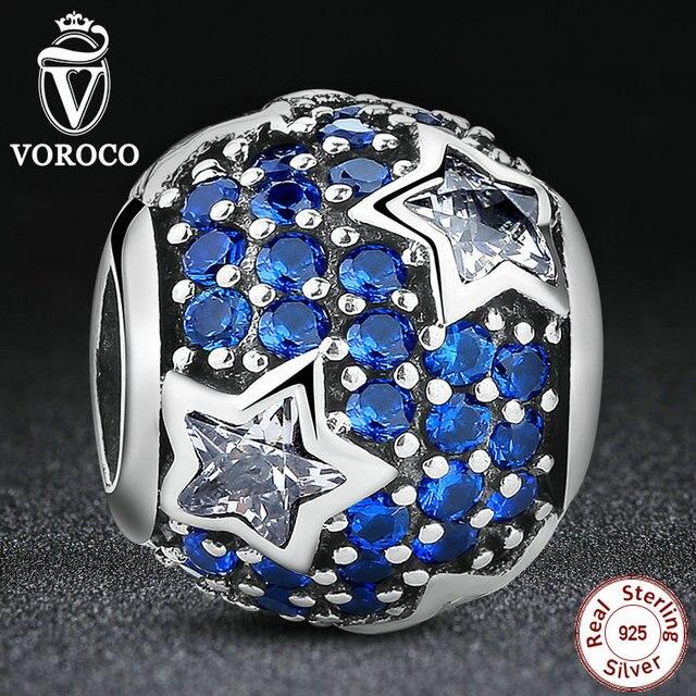 925 siga las estrellas de plata del encanto fit pandora original pulsera con clear cubic zirconia azul medianoche crystal ps072