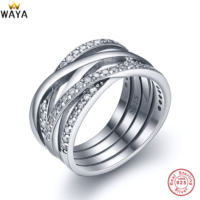 WAYA 925 Sterling Silver Entwined Rings Sparkling Cubic Zircon For Women Female Ring Genuine Famous Original Jewelry Making