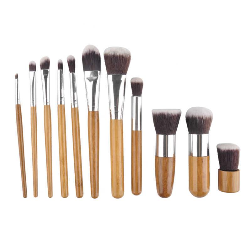 11 pçs/set Bamboo Handle Pincéis de Maquiagem Profissional Fundação Blush Sombra Escovas da Composição Cosmetic Set Kit com bag Bolsa