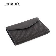 ISHARES woven genuine leather day clutches cow Magnetic buckle casual clutch men purses fashion cover closure IS5066