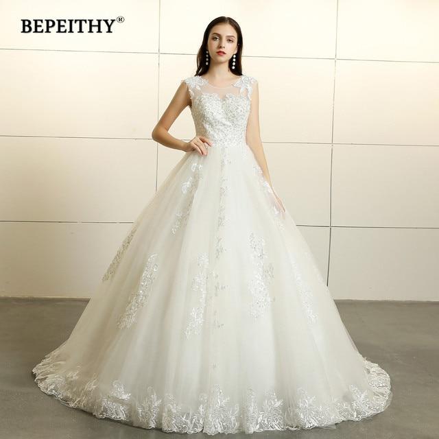 Vestido De Noiva Ball Gown Wedding Dress Open Back Sexy Sleeves Lace Bridal Dresses 2019 New Design Court Train Wedding Gowns