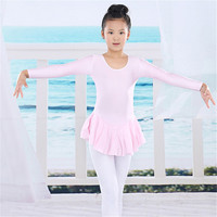 Spandex Gymnastics Tutu Leotard Skate Long Sleeve Girls Kid Ballet Dress Dancewear