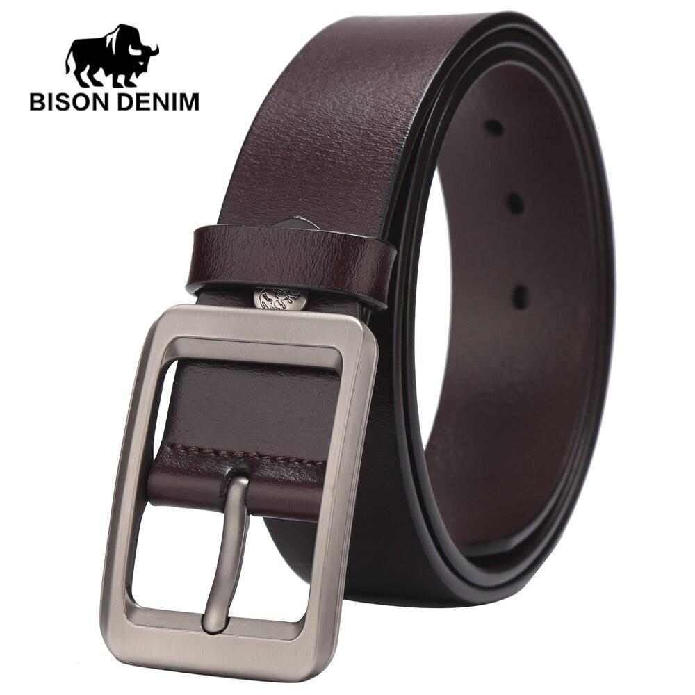 BISON DENIM High Quality100 belts men Genuine Leather belts for men Retro men cow leather belt