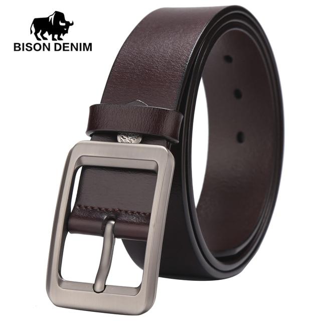 BISON DENIM High Quality100% belts men  Genuine Leather belts for men Retro men cow leather belt W71156
