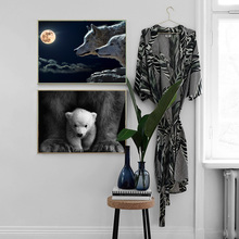 Moon Wolf lion Bear Animal art Print Nordic Posters and Prints Wall Art Canvas Painting Pictures For Living Room Home Decor