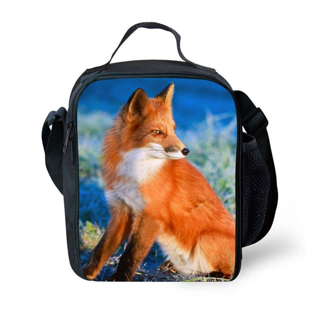 Imagem da Raposa Térmico dos Alimentos Bags para Mulheres Moda Portátil Almoço Isolados Bolsa Picnic Lunch Homens Crianças Refrigerador Lancheira 3d