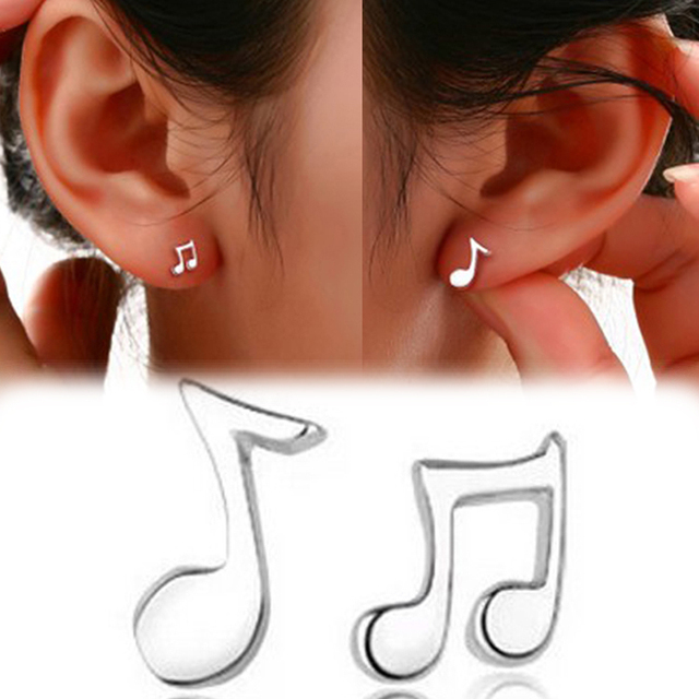 Fashion Lovely Music Note Stud Earrings With Silver Plated Penntes Ear Charm Earring Women Jewelry Drop