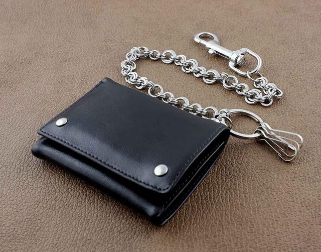 Leather Biker Wallet w/ Metal Ring Key Chain 2