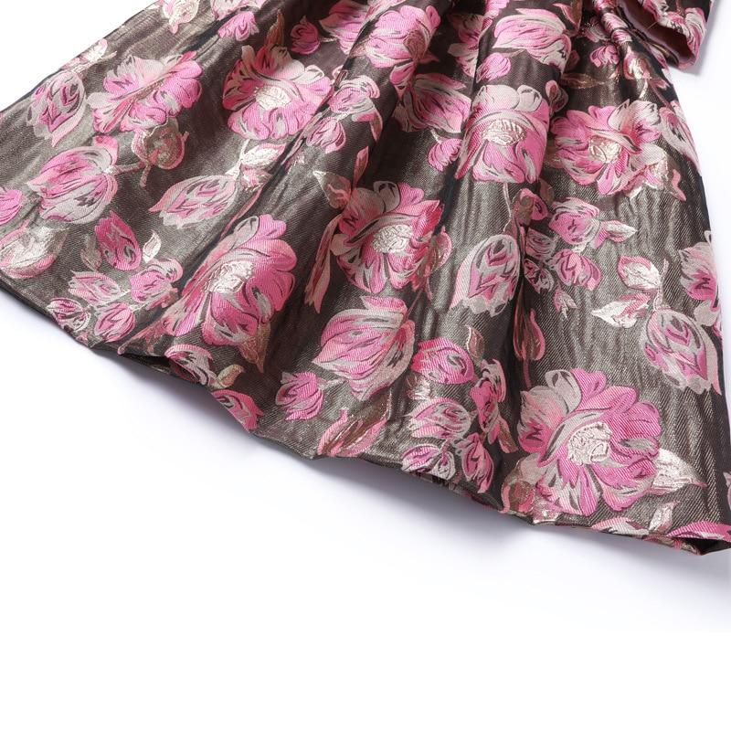 European Fashion Dress 2018 Autumn Winter Party Christmas Dress Women Pink Rose Flower Print Long Sleeve Bow Elegant Vestido - 4