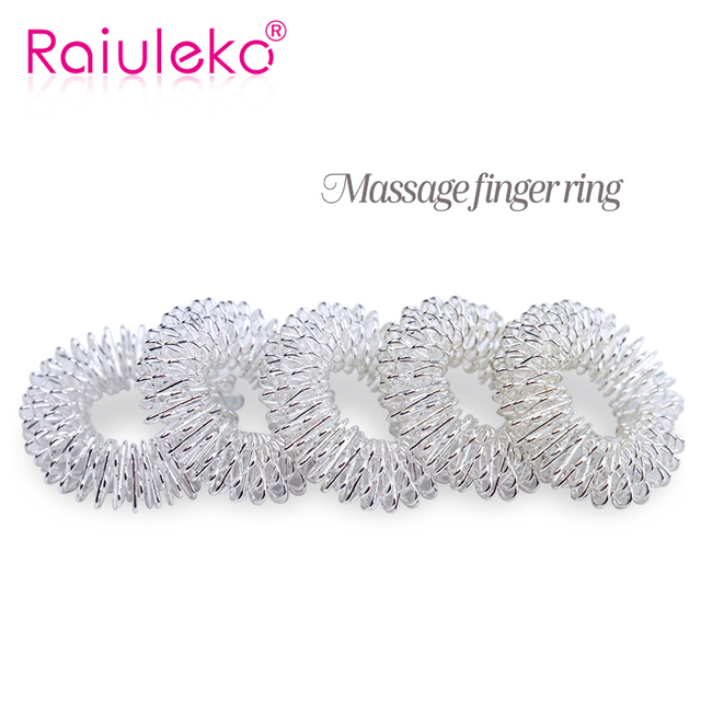 10Pcs Silver Massage Acupuncture Finger Rings Health Care Acupressure Hand Massager Pain Relief Stress Relief Help Sleep Tools 4