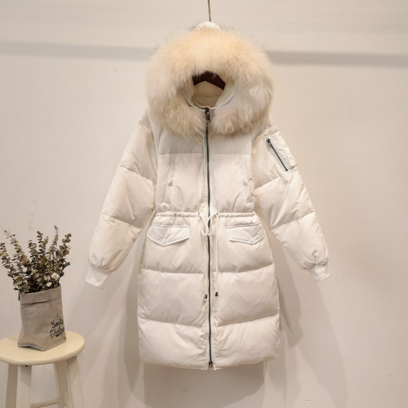 Fashion loose fit thickening warm winter   down     coat   outerwear women real raccoon fur collar hooded adjustable waist   down   jacket