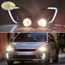цена на 1Pair Fog lamp For Mitsubishi Lancer 2016 2017 2018 2019 12V LED Daytime Running Light DRL Lamp with yellow signal Lights