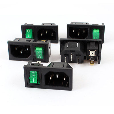 5 Pcs Green Lamp Panel Mount Rocker Switch IEC320 C14 Power Socket AC 10A 250V
