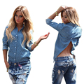 2016 Fashion Spring Summer Blusas Women  Long Sleeve Blue Lapel Down Collar Buttons Sexy Split Backless Polo Shirts