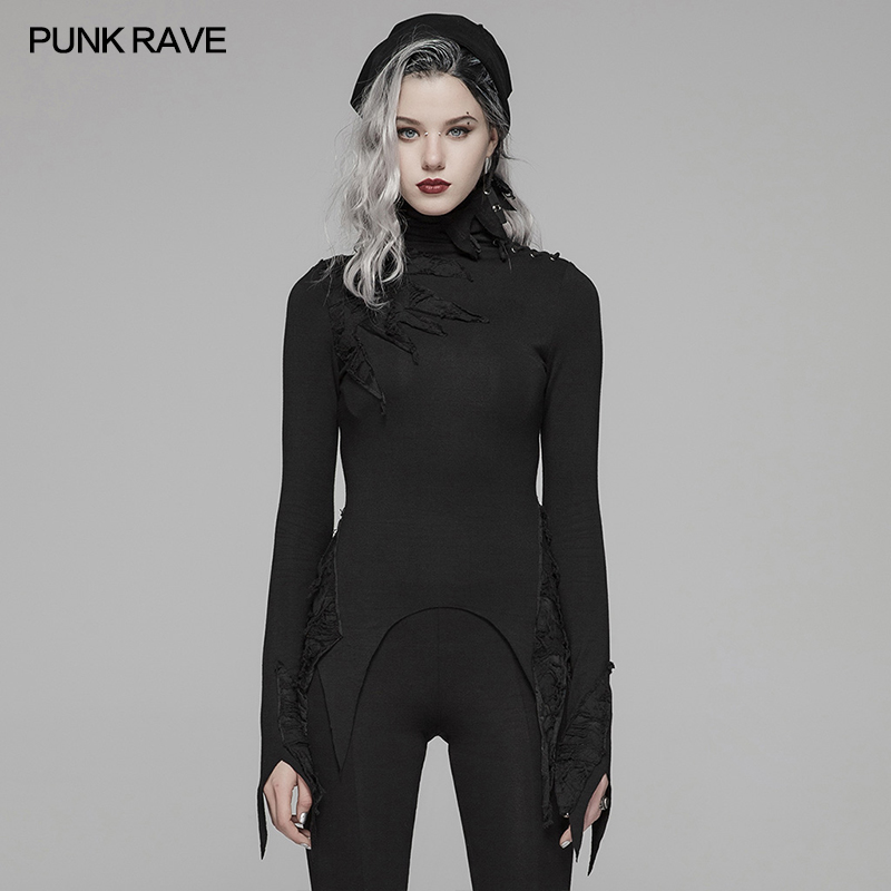 PUNK RAVE Women's Gothic Daily Long Sleeve Black High Collar T-shirt Personality Fashion Casual Women Tops Tees Street Wear