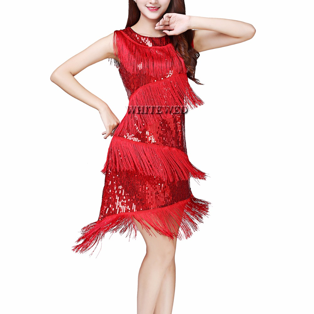 Us 26 99 Whitewed Fringe Great Gatsby Themed Party Prom Dresses Costumes Clothing Outfits Sequin Jazz Age Roaring 20s Fler In Latin From
