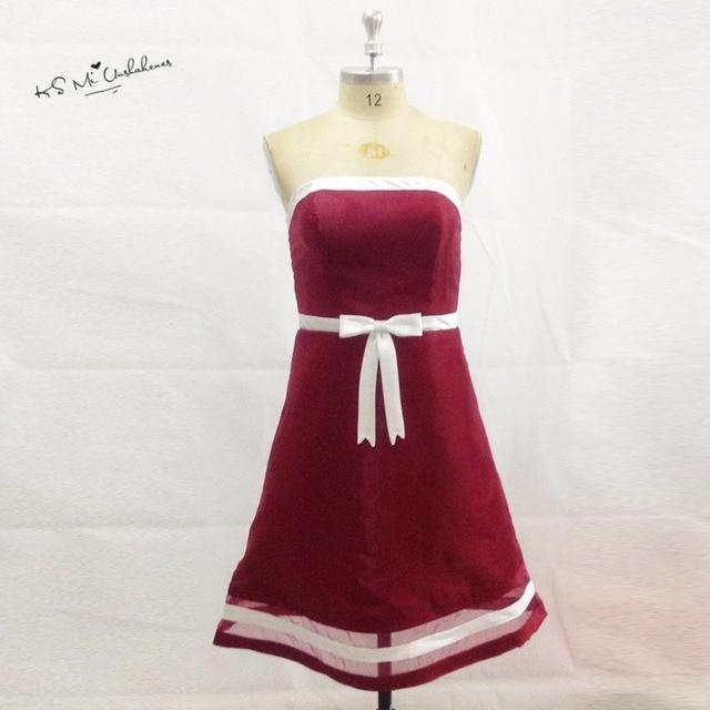 Imported China Branco Borgonha Da Dama de Honra Vestidos Na Altura Do  Joelho de Uma Linha 43d40bd9a85
