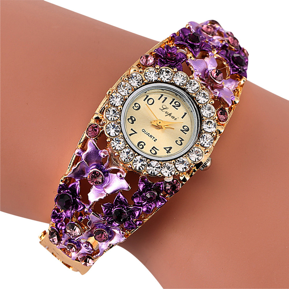 Lvpai Women's Watch Alloy Crystal Bracelet Flower Wrist Watch Women Clock Quartz Watches With Rhinestones Relogio Feminino