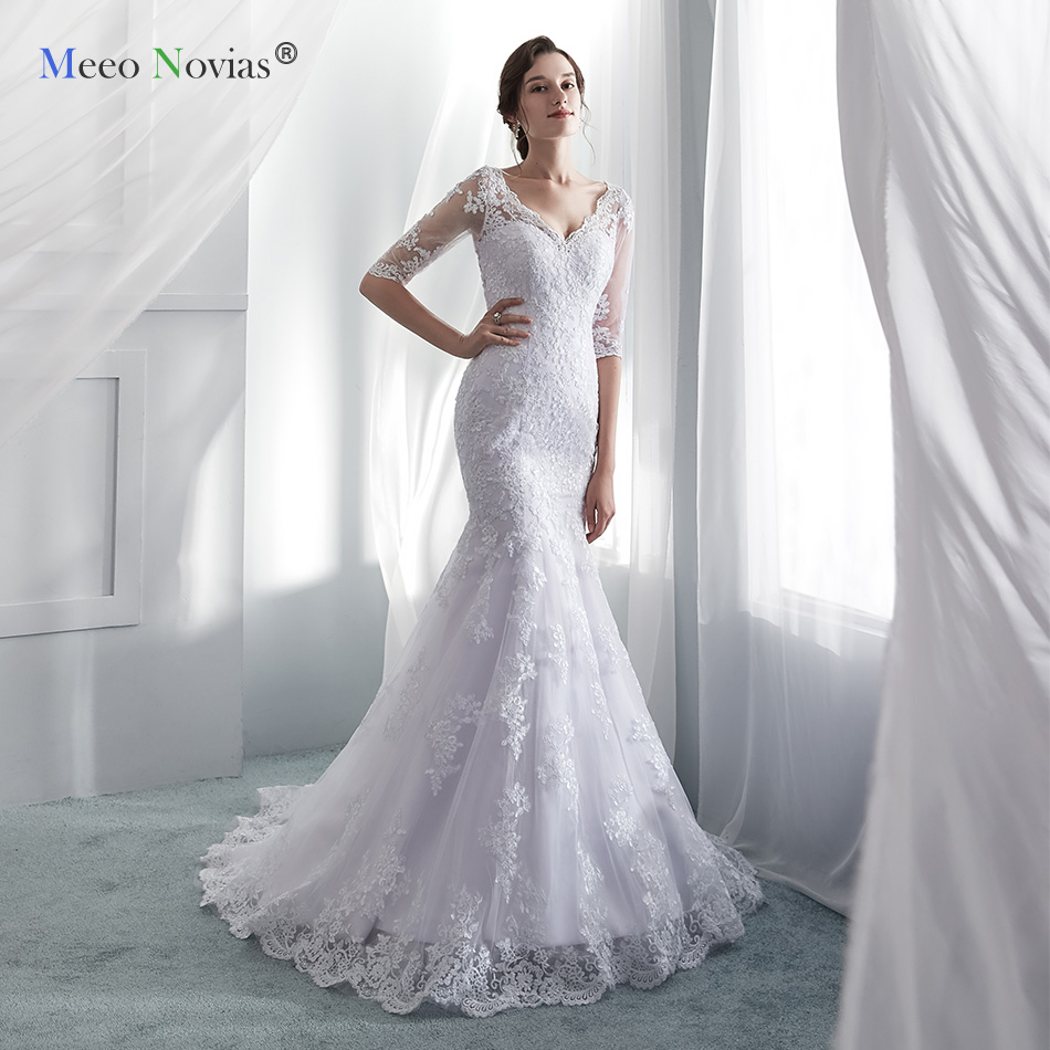 Meeo Novias Half Sleeve Mermaid Wedding Dress 2019 Vintage Lace Button Back Plus Size Wedding Dresses