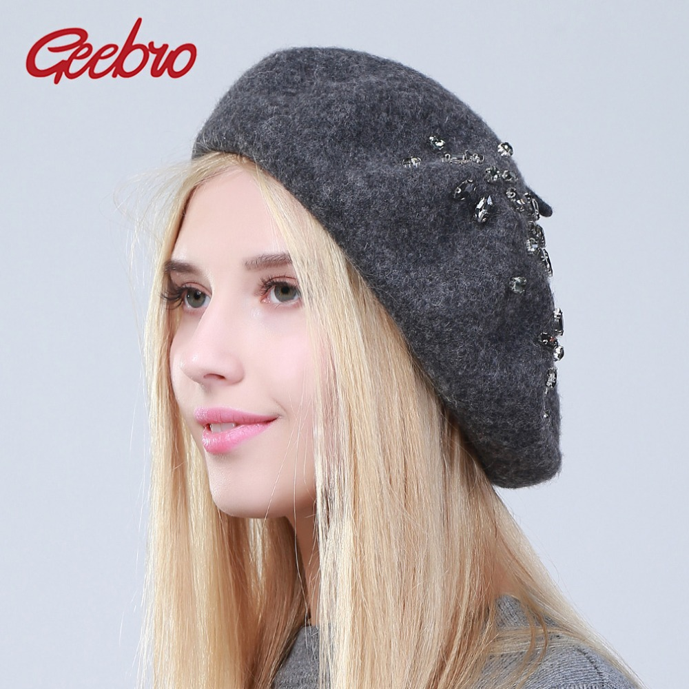 Geebro Women's Cashmere Beret Hat New Winter Floral Rhinestone Knitted French Artist  Cap Femme Plain Black Wool