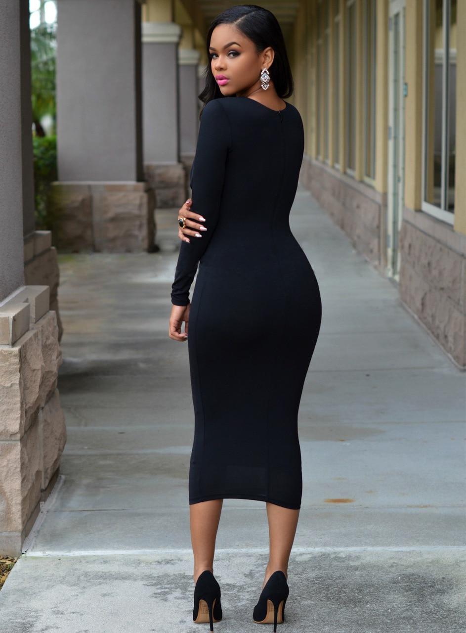 Black Calf Length Dresses