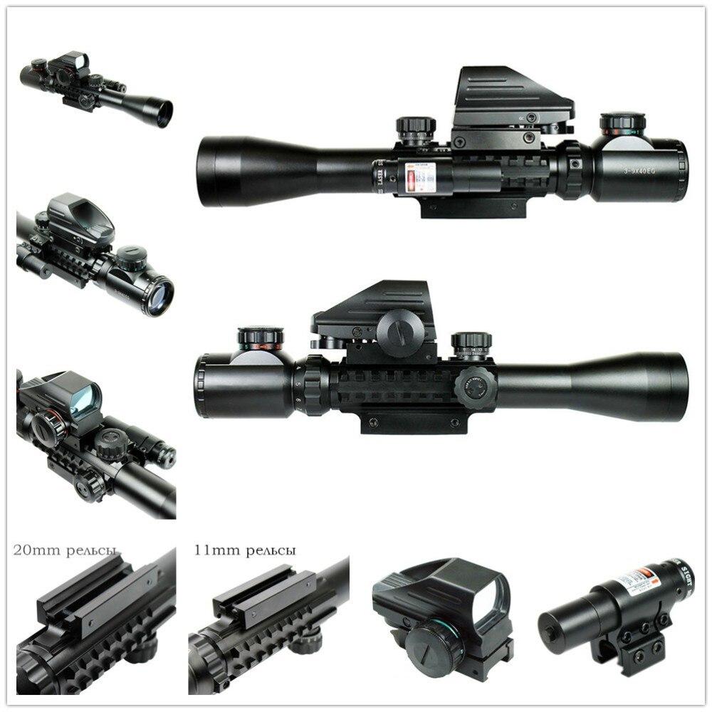 Tactical Cannocchiali da fucile Combo C3-9X40EG Tactical Rifle Scope Con Olografica Dot Sight & Red Laser Airsoft Tiro ScopeTactical Cannocchiali da fucile Combo C3-9X40EG Tactical Rifle Scope Con Olografica Dot Sight & Red Laser Airsoft Tiro Scope