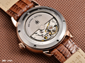 HOLUNS homens relógio de luxo material de safira Genuína pulseira de couro à prova d' água data Mecânico Automático assista relogio masculino